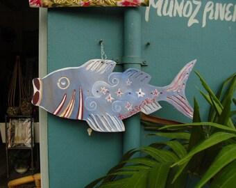 Custom Painted-Wood Fish-  House Sign- Home  Decor- Garden Decor- Beach Decor- Coastal