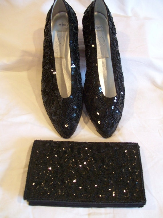 Vintage Dolce by Pierre Shoes with Matching Bag Size 11W