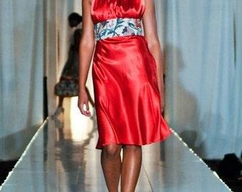 Red Satin Halter Dress