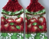 Apples Hanging Dish Towels, Apples Haning Kitchen Towels, Crochet Top Towels, Kitchen Towels, Housewarming Gift, Gift Basket, Home Decor