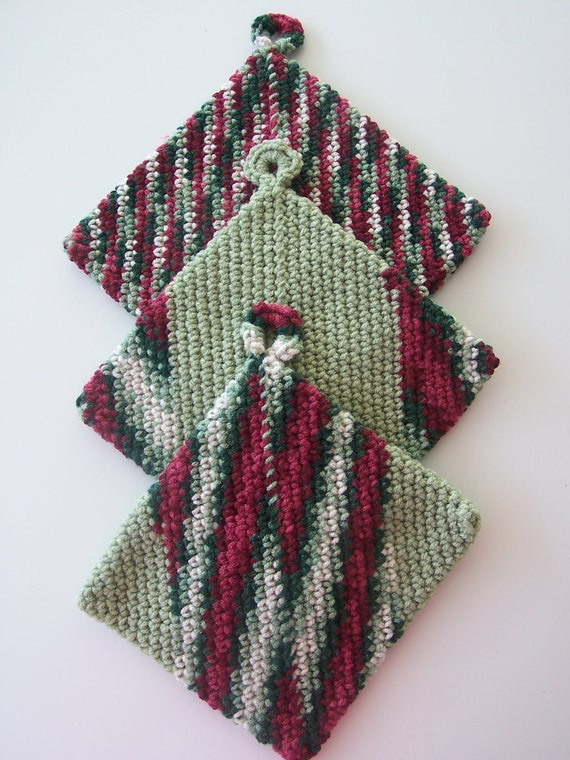 Holiday Potholders, Christmas Potholders, Potholders, Hot Pads, Trivets, Burgundy and Green Potholders, Multi-Color Potholders