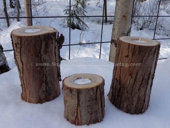 LOG CANDLE HOLDERS, Rustic Wood Slab Tea Light Candle Holders, Set of 3