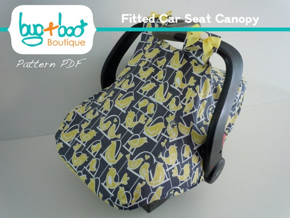 Fitted Car Seat Canopy PDF Pattern/Tutorial with optional viewing window and bow tying instructions