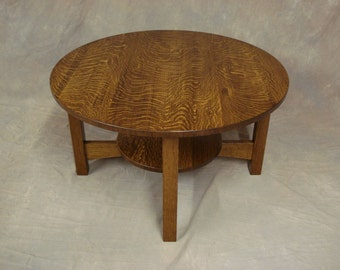 Round Quartersawn Oak or Cherry Mission Coffee Table Free Shipping