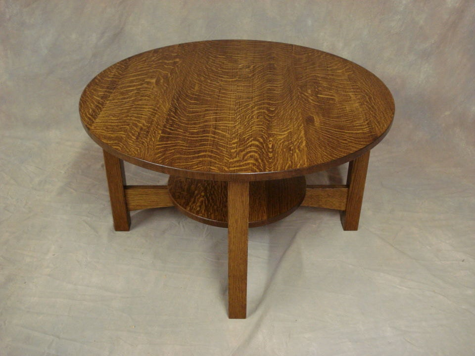 Round Quartersawn Oak Or Cherry Mission Coffee Table Free