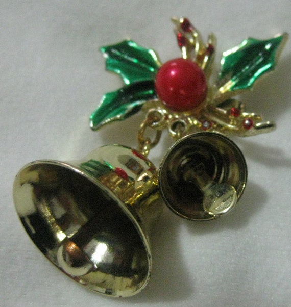 Vintage Enamel Christmas Bells And Holly Brooch Pin