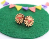 Wood laser cut earrings studs - fox head cameo triangle geometric handpainted orange