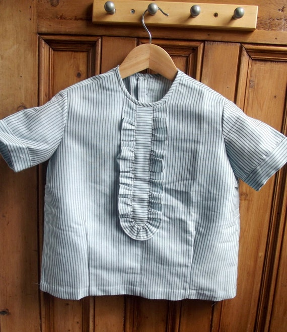 vintage womans blouse  clothing shirt top 60s 1960  xs small  ruffle blue grey handmade 1960s clothes striped