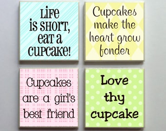 Cupcake Words - Ceramic Tile 4-pc. Refrigerator Memo Magnet Set Magnets - Set No. 3