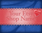 Valentines Etsy Shop Banner Heart and Antique Lace Patriotic Red White and Blue Set
