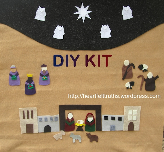 Advent Calendar Diy Kit : Items similar to diy kit for felt religious set advent