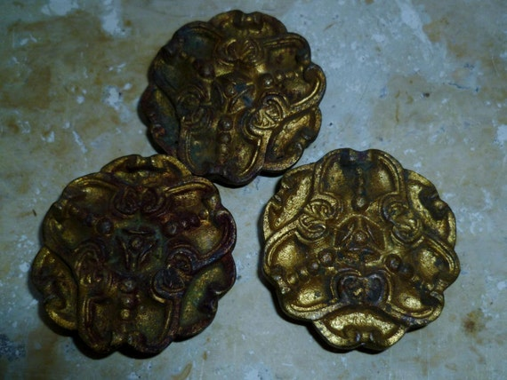 3 French Antique Art Nouveau Solid Picture Frame Wall Mounts Circa 1890