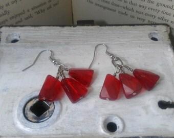 Ruby Colored Earrings