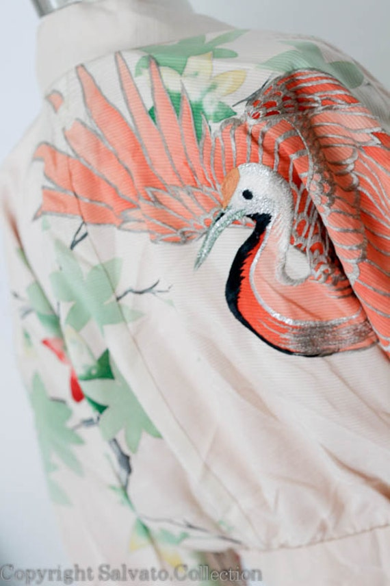 RESERVED Vintage SILK Cropped  Kimono Jacket NWT - Couture Hand Embroidered Hand Painted