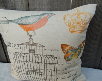 Birdie on the Birdcage Linen Pillow cover with french script and a crown