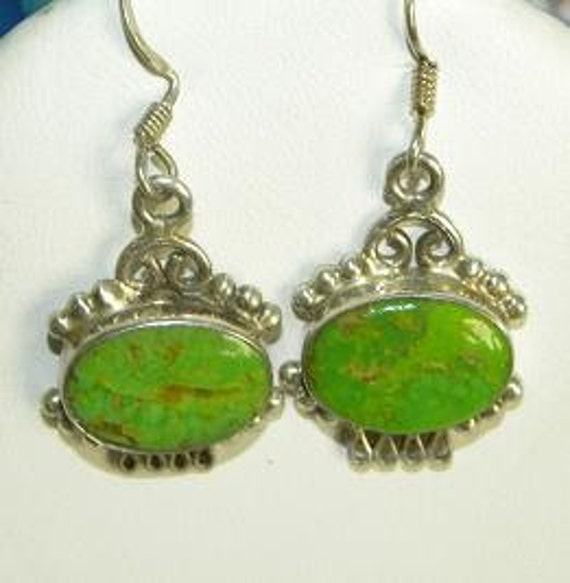"""Vintage Green Tourquoise Gemstone Native American Style Earrings 1 1/2"""" Dangling 925 Silver Setting"""