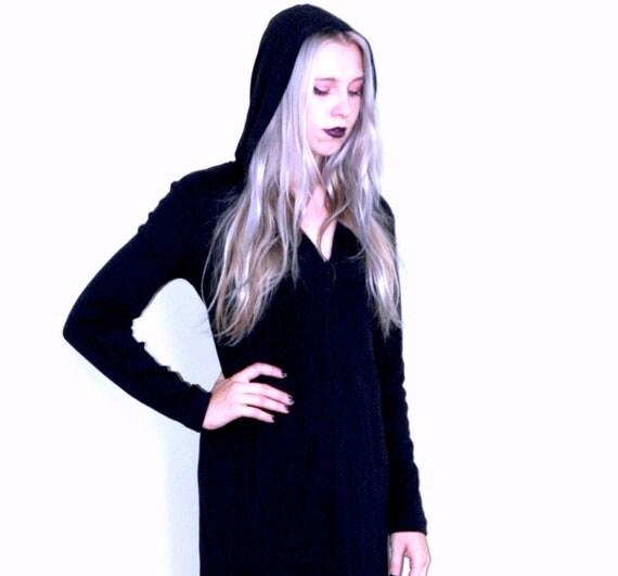 90s Hooded Midi Witch Dress by Club Monaco (M)