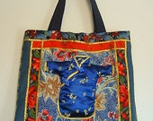 RTS ToTE BaG Shoulder Purse for Knitting Books Shoes Shopping ASiAn Appliqued Stuffed KiMono Navy Red Gold INDiGo Lining ORiEntal
