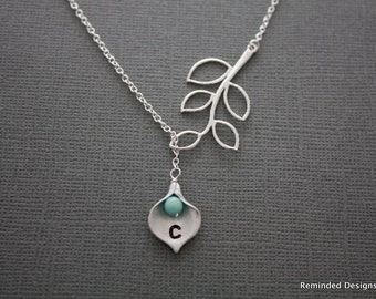 030- Five leaf branch with amazonite bead and calla lilly drop