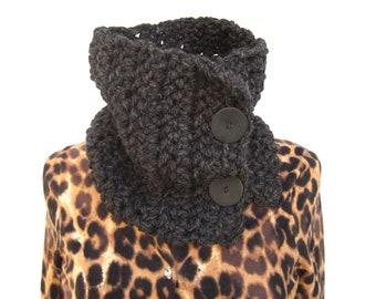 Crochet Cowl Scarf in Gray