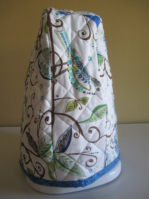 Quilted Kitchen-Aid Mixer Cover - White with Blue, Green & Brown Birds