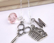 Personalized Hairdresser Necklace with Your Initial and Birthstone