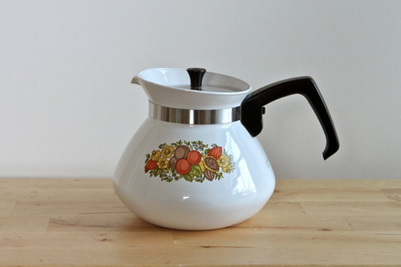 Corning Ware Teapot - Spice of Life 6 Cup Tea Pot with Metal Lid - Pattern of Nuts, Berries and Herbs