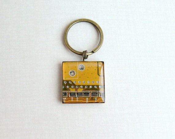 Circuit board geekery keychain Yellow in bronze - recycled computer bsy361 ready to ship
