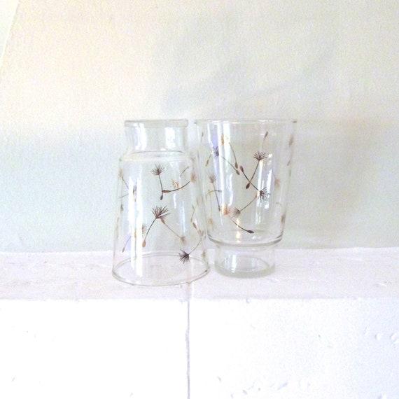 Vintage Glasses- Gold-leaf Dandelion Pattern with Unique Shape