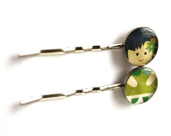 Happy Girl Hair Pin, Green-Black Hair Pin, Cute Bobby Pin