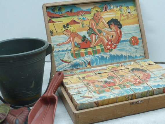 RESERVED for B Vintage French Wooden Puzzle Blocks....Very Vibrant Colors of Seaside Scenes