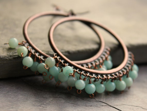 Copper Chandelier Earrings Wire Wrapped Amazonite blue green Bohemian
