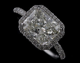 Platinum Modern Style Micropave Diamond Engagement Ring Mounting for Radiant Cut Center