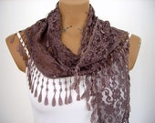 Brown Lace Scarf Cowl with Lace Edge Woman Shawl Ligt Weight