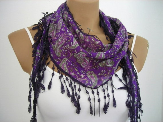 Woman Cotton Scarf in Purple Green Pink  Paisley Scarf Summer Fashion