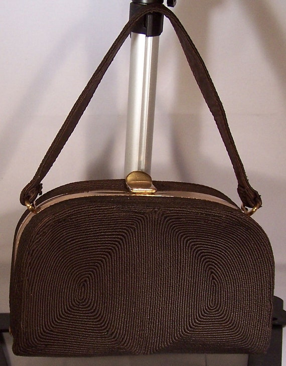 Classic Vintage 1940s Deco  Corde' Brown Hand Bag by Corde'Craft