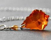 Red Orange Necklace - Swarovski Crystal Pendant Necklace - Handmade Sterling Silver Jewelry