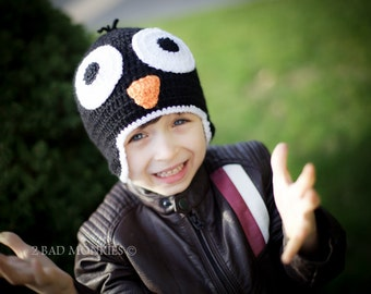 Penguin hat - Toddler Hat, Baby hat, Toddler Winter Hat, Toddler Halloween Costume, Christmas Hat, Toddler boy hat winter hat