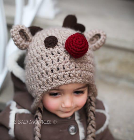 Christmas Hat - Baby Christmas hat, Reindeer Hat - Winter Hat, newborn Christmas hat, Toddler Christmas hat, Adult Christmas hat