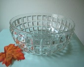 Vintage Flint Glass EAPG Antique Big Block or Waffle Pattern Bowl.....Wedding  Bowl