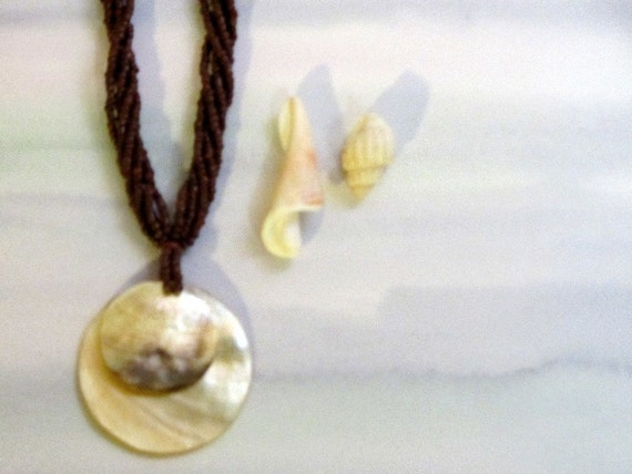 Vintage Necklace Mother of Pearl Chocolate Seed Beads Bohemian Retro Beach