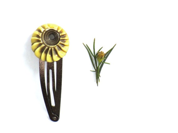 Sunflower Yellow Snap Hair Clip, Bronze and Yellow, Button Hairclip, Hair Fashion