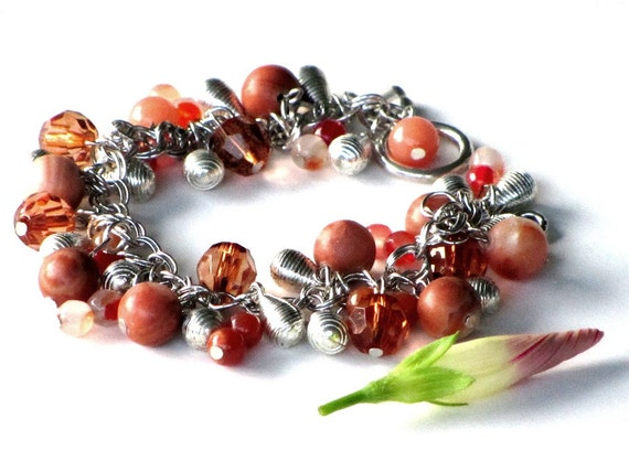 Rustic Red Cha Cha Bracelet, Silver, Rust and Brown, Gemstones, Carnelian, Jasper, Gift for Her
