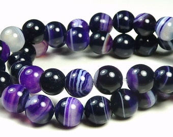 6mm Purple Violet Striped Agate Round Gemstone Beads - 15 Inch Strand - Banded, Smooth - BA10