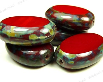 19x14mm Opaque Red Picasso Czech Glass Beads - 4pcs - Puffed Ovals - BD30