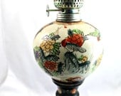 Vintage oil lamp, antique hand painted kerosene lantern, Asian theme, clear glass chimney, decor