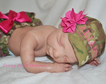Baby girl military cap and diaper cover, (ALL BRANCHES) military cap, Army, Multi cam, Acu, Military ruffled bloomers