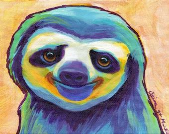 Happy Sloth Art Print - Original Sloth Art PRINT - By Corina St. Martin
