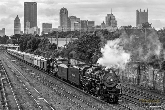 Items similar to 765 steam engine and pittsburgh skyline for Old black and white photos for sale