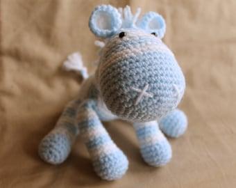 Crochet Zebra Blue and White Stripey Handmade Animal Wool Soft Toy Gift